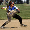 5-23-12<br /> Softball Sectional Tipton Vs Elwood HS<br /> Tipton's Mariah Kesterson scoops up a ball that the pitcher missed throwing it to first to get the out in the 5th inning.<br /> KT photo | Tim Bath