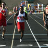 5-17-12<br /> Boys Track Sectionals at KHS<br /> KHS's Harvey Lenoir taking the win with Cass's Thorsten Watz and Logan's Djivon Moore on each side.<br /> KT photo | Tim Bath