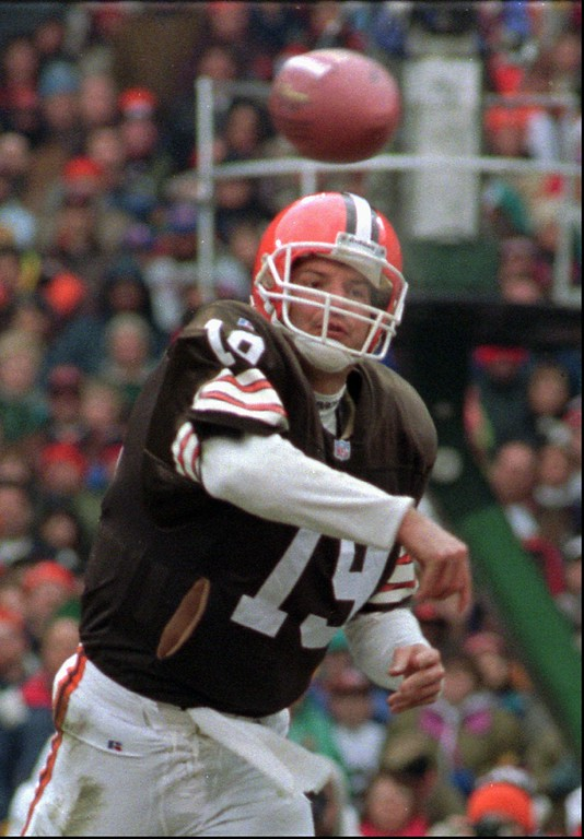 . Cleveland Browns quarterback Bernie Kosar fires a pass against the Denver Broncos on Oct. 7, 1993, in Cleveland. (AP Photo/Mark Duncan)