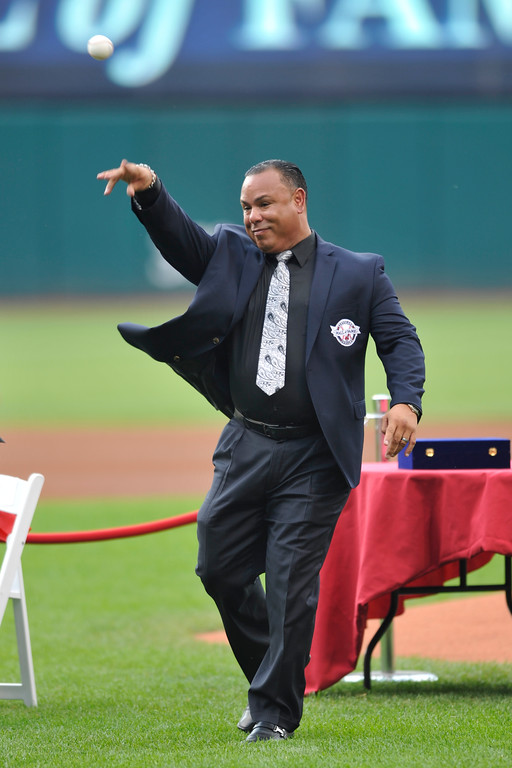 . Former Cleveland Indians second baseman Carlos Baerga during his induction into the club\'s Hall of Fame before a baseball game against the Minnesota Twins, Saturday, June 22, 2013, in Cleveland. (AP Photo/David Richard)