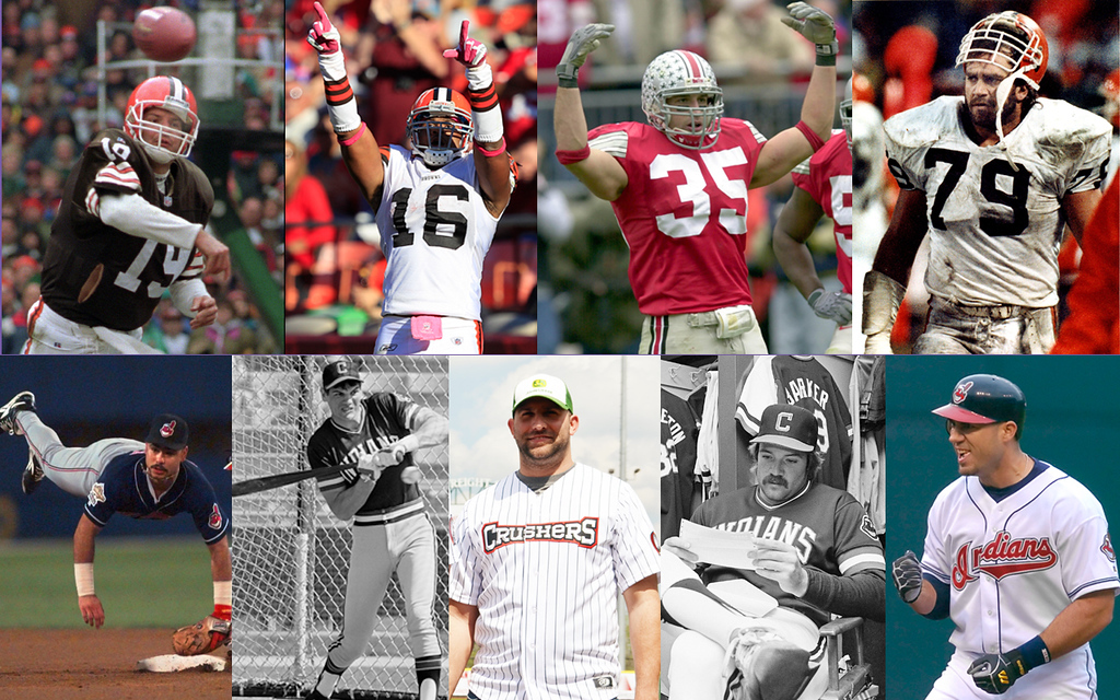 . Associated Press and Morning Journal File Photos The first annual Cleveland Legends softball game will take place at Sprenger Stadium on June 17, featuring, clockwise from top left: Bernie Kosar, Josh Cribbs, Matt Wilhelm, Bob Golic, Travis Hafner, Len Barker, Andrew Davis, Joe Charboneau and Carlos Baerga.