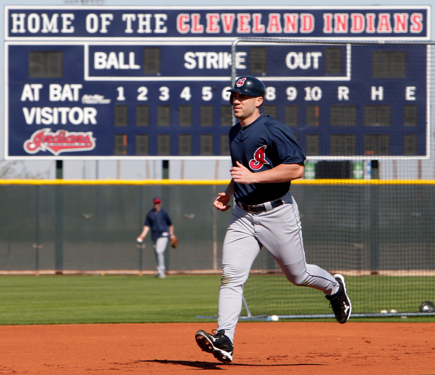 . Cleveland Indians\' Travis Hafner works on base running during baseball spring training Thursday, March 4, 2010, in Goodyear, Ariz. (AP Photo/Mark Duncan)