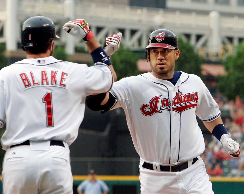 . Cleveland Indians\' Travis Hafner is congratulated by Casey Blake (1) after Hafner\'s two-run homer off Detroit Tigers pitcher Justin Verlander during the first inning of a baseball game Thursday, May 31, 2007, in Cleveland. (AP Photo/Mark Duncan)