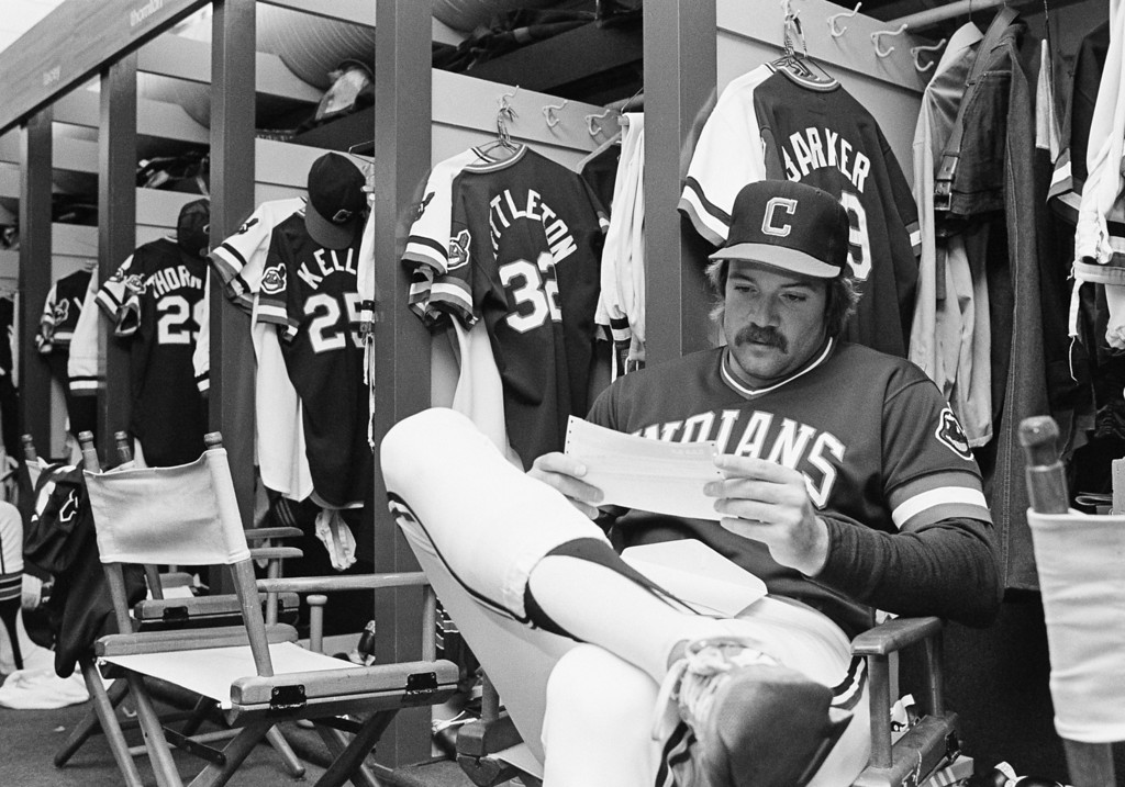. Cleveland Indian pitcher Lan Barker reads one of many telegrams congratulating him on his perfect game Friday, May 15, 1981 in Cleveland against the Toronto Blue Jays. Barker finally got a bit of time to himself before Saturday\'s game after countless interviews and innumerable autographs. (AP Photo/Mark Duncan)