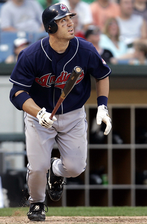. Cleveland Indians\' Travis Hafner watches after hitting a solo home run off Chicago White Sox relief pitcher Damaso Marte in the tenth inning at U.S. Cellular Field, Sunday, June 5, 2005 in Chicago. The Indians won 6-4.(AP Photo/Nam Y. Huh)
