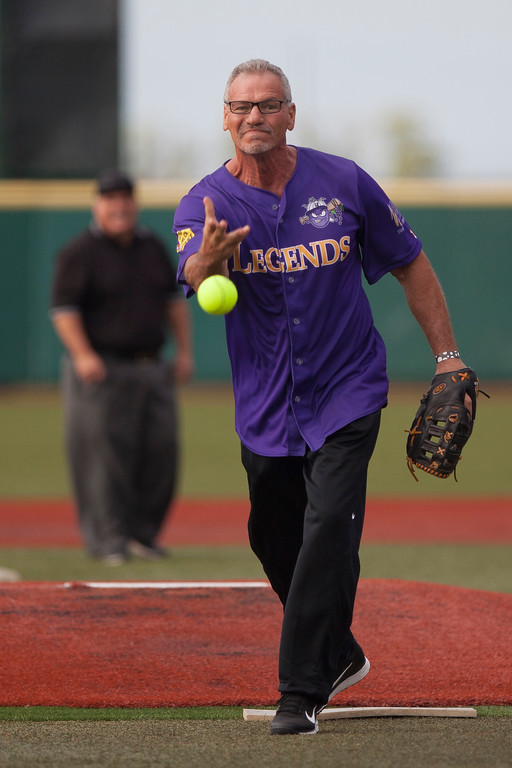 . Jen Forbus - The Morning Journal<br> Former Cleveland Indian Joe Charboneau took the mound for the purple team during the Cleveland Legends softball game on June 23 at Sprenger Stadium.