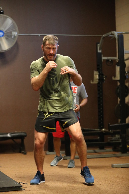 . Tim Phillis - The News-Herald Stipe Miocic during a workout with strength and conditioning coach Bobby Kaleal on June 28 in advance of UFC 226 on July 7 in Las Vegas.