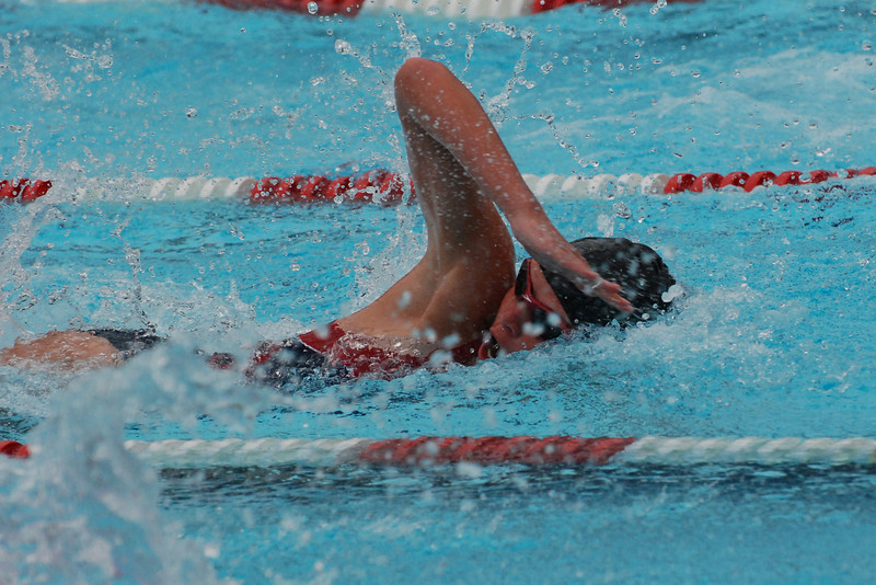 Lauren competing in the 50 meter freestyle