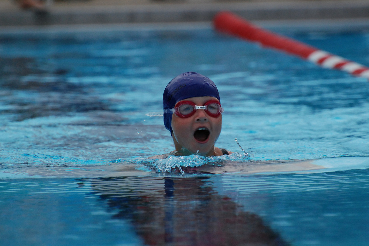 Nicole catching her breath during the 25 meter breast stroke race.
