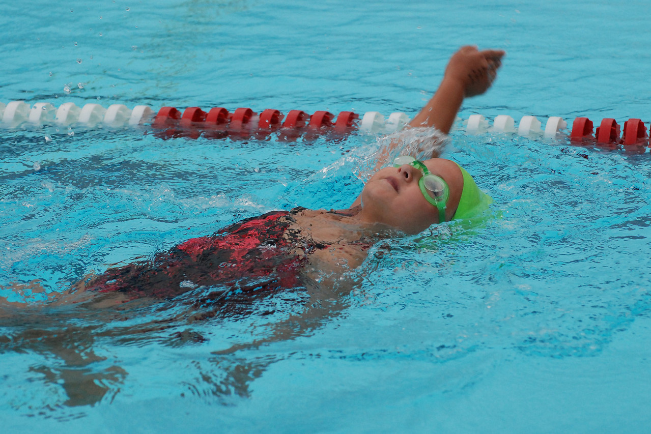Madelyn showing everyone how to gracefully swim back stroke