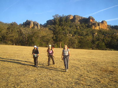 returning from a great day at the far pavilion with red rocks in the background