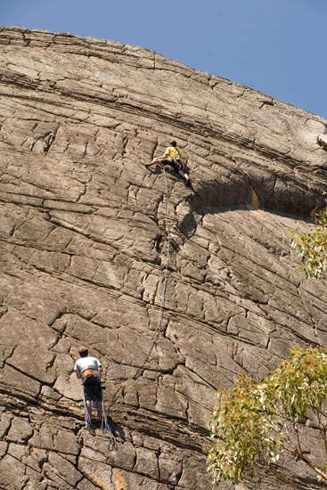 adam leading neil on belay on the second pitch of the cold war(23) at the far pavilion
