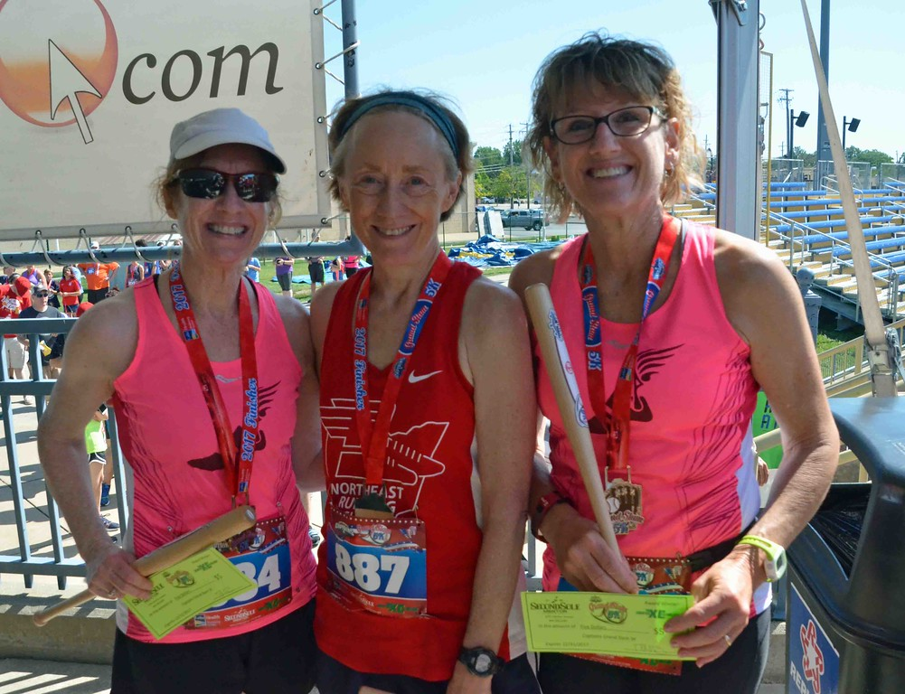 . Paul DiCicco - The News-Herald - (l-r) Ladies 55-59 division - 3rd place - Laurie Ferro (57); 1st place - Susan Beck (59); and 2nd place - Kathleen Pierce (57).