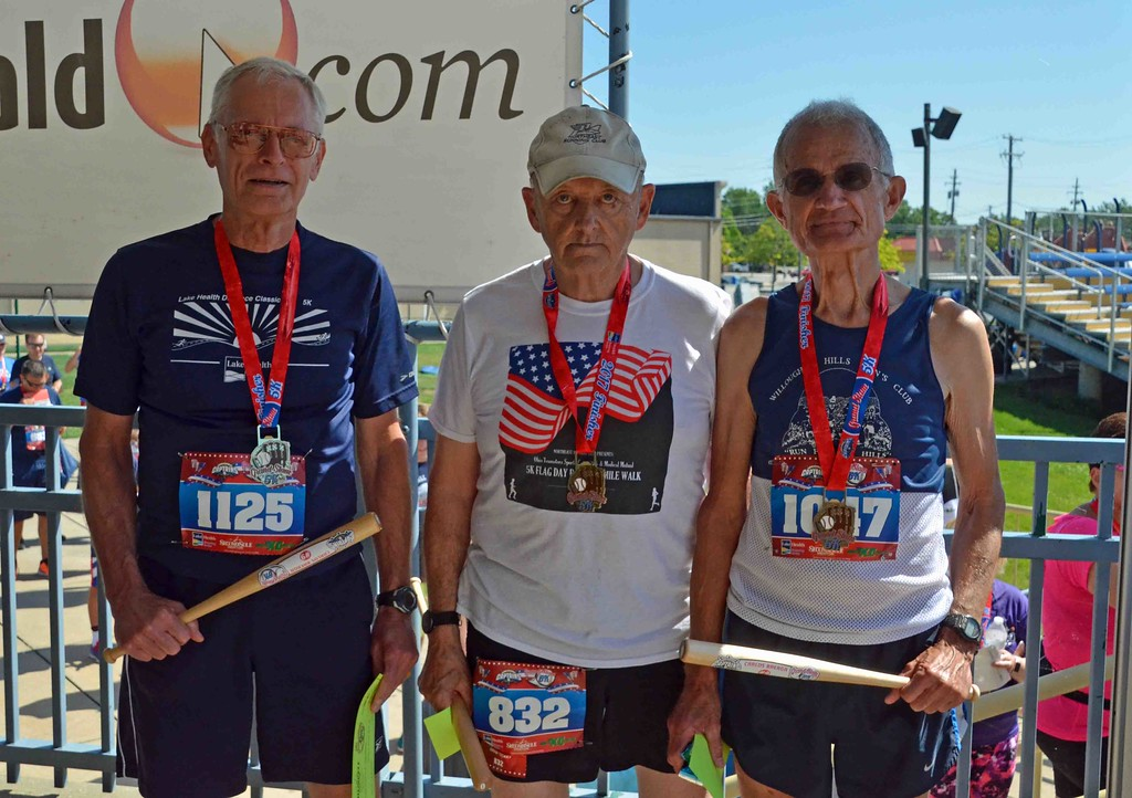. Paul DiCicco - The News-Herald  (l-r) Male over 70 division - 3rd place - Bob Geder (71); 2nd place - Russell Baer (75); 1st place - Roger Wilcox (74)