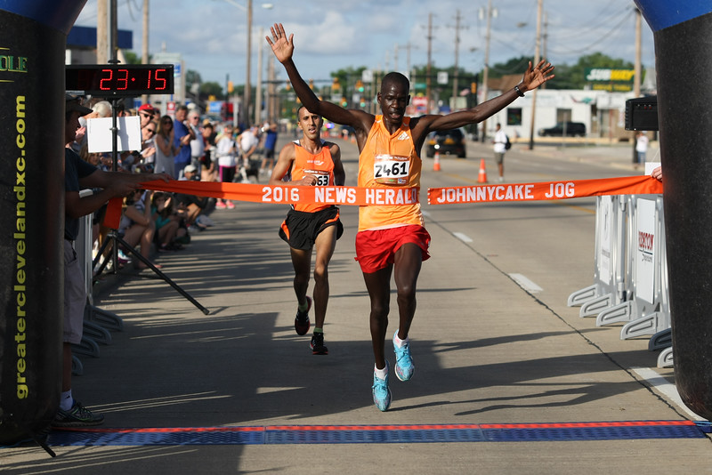 Michael Johnson - The News-Herald<br /> Hillary Too crosses the finish line to place first during the 40th Johnnycake Jog on July 10, 2016.