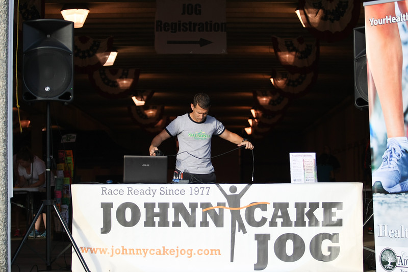Michael Johnson - The News-Herald<br /> Jeremy James works the DJ Booth at the 40th Johnnycake Jog on July 10, 2016.