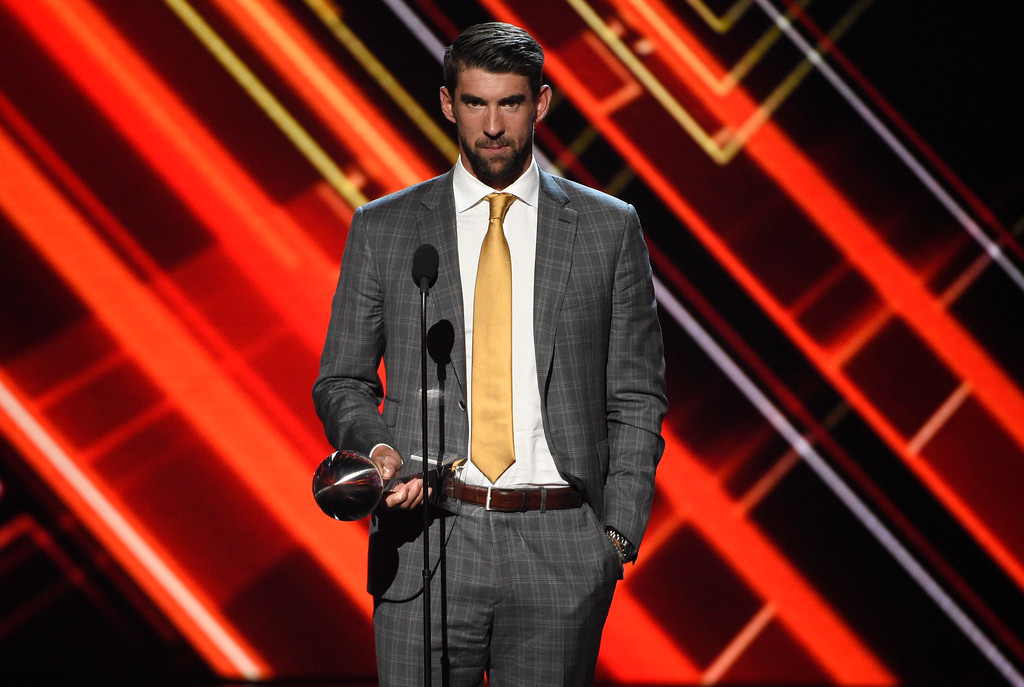 . Michael Phelps accepts the award for best record-breaking performance at the ESPYS at the Microsoft Theater on Wednesday, July 12, 2017, in Los Angeles. (Photo by Chris Pizzello/Invision/AP)