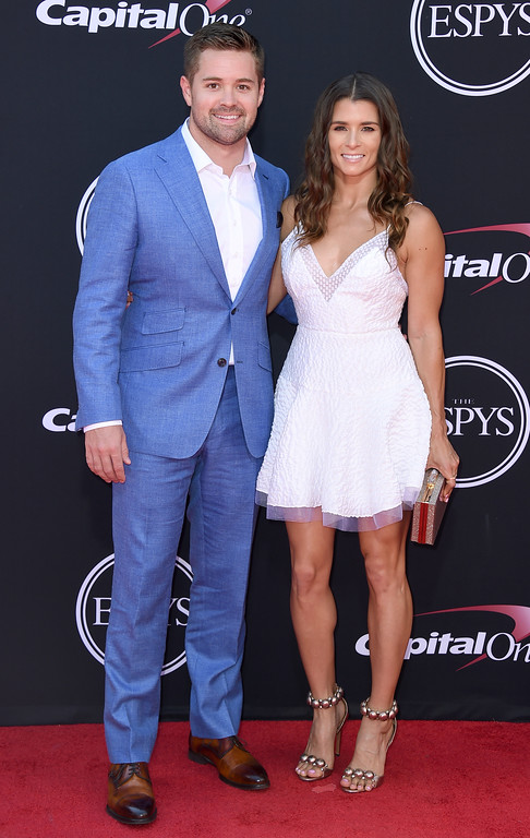 . Race car drivers Ricky Stenhouse Jr., left, and Danica Patrick arrive at the ESPYS at the Microsoft Theater on Wednesday, July 12, 2017, in Los Angeles. (Photo by Jordan Strauss/Invision/AP)