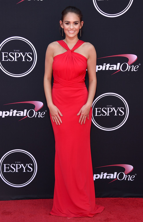 . Madison Pettis arrives at the ESPYS at the Microsoft Theater on Wednesday, July 12, 2017, in Los Angeles. (Photo by Jordan Strauss/Invision/AP)