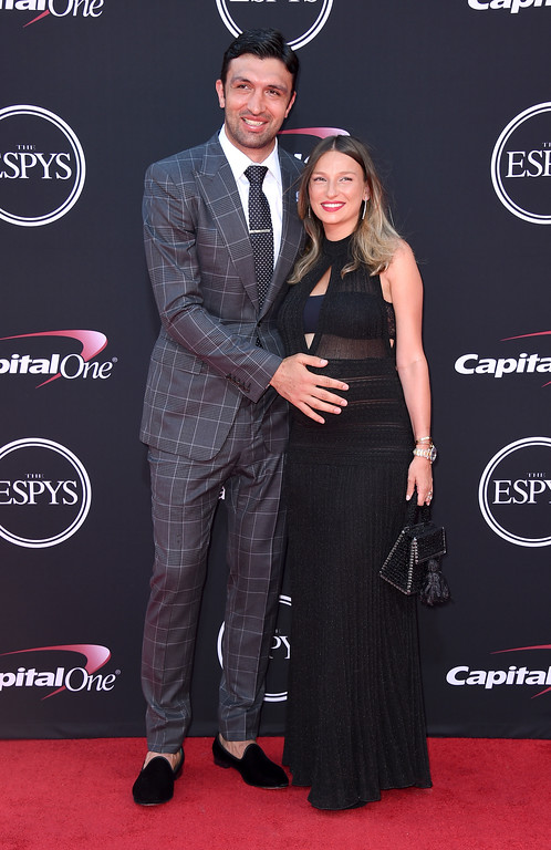 . NBA basketball player Zaza Pachulia, of the Golden State Warriors, left, and Tika Pachulia arrive at the ESPYS at the Microsoft Theater on Wednesday, July 12, 2017, in Los Angeles. (Photo by Jordan Strauss/Invision/AP)