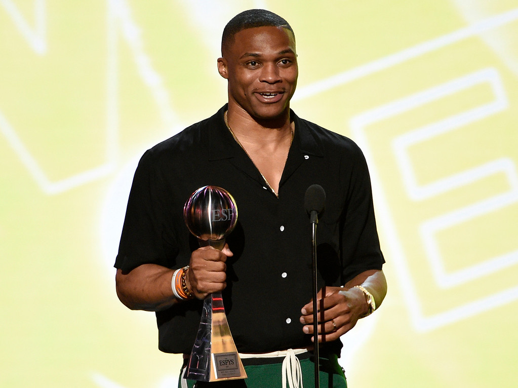 . NBA basketball player Russell Westbrook, of the Oklahoma City Thunder, accepts the award for best male athlete at the ESPYS at the Microsoft Theater on Wednesday, July 12, 2017, in Los Angeles. (Photo by Chris Pizzello/Invision/AP)