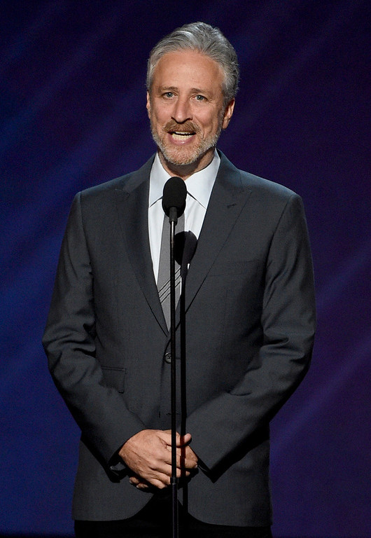 . Jon Stewart presents the Pat Tillman award for service at the ESPYS at the Microsoft Theater on Wednesday, July 12, 2017, in Los Angeles. (Photo by Chris Pizzello/Invision/AP)