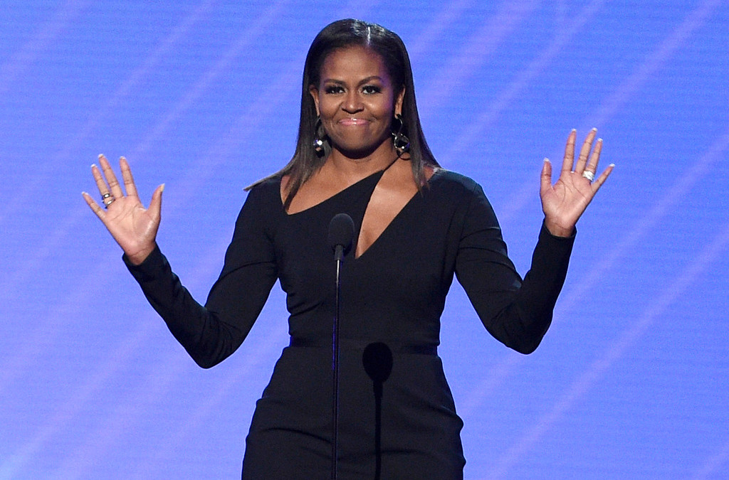 . Former first lady Michelle Obama presents the Arthur Ashe Courage Award at the ESPYS at the Microsoft Theater on Wednesday, July 12, 2017, in Los Angeles. (Photo by Chris Pizzello/Invision/AP)