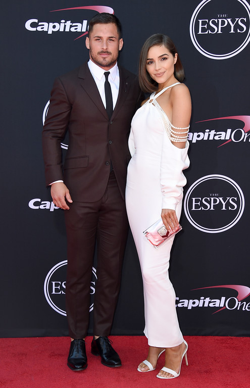 . NFL football player Danny Amendola, of the New England Patriots, left, and Olivia Culpo arrive at the ESPYS at the Microsoft Theater on Wednesday, July 12, 2017, in Los Angeles. (Photo by Jordan Strauss/Invision/AP)