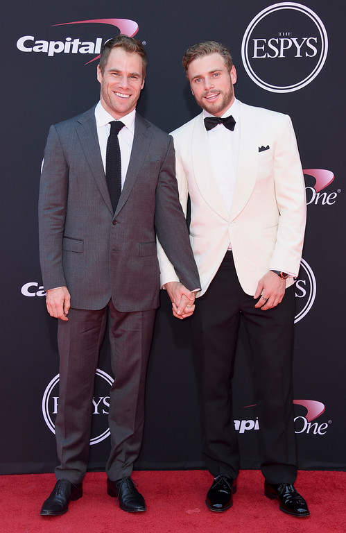 . Gus Kenworthy, right, and Matthew Wilkas arrive at the ESPYS at the Microsoft Theater on Wednesday, July 12, 2017, in Los Angeles. (Photo by Jordan Strauss/Invision/AP)