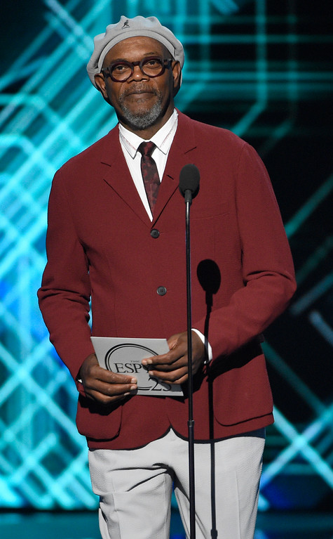 . Samuel L. Jackson presents the award for best team at the ESPYS at the Microsoft Theater on Wednesday, July 12, 2017, in Los Angeles. (Photo by Chris Pizzello/Invision/AP)