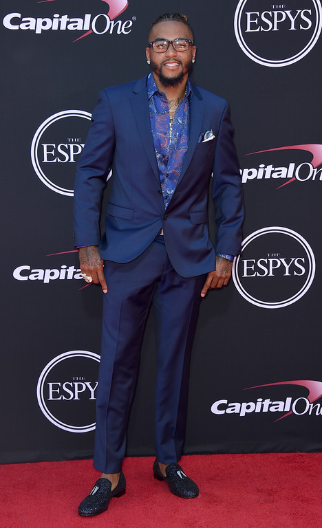 . NFL football player DeSean Jackson, of the Tampa Bay Buccaneers, arrives at the ESPYS at the Microsoft Theater on Wednesday, July 12, 2017, in Los Angeles. (Photo by Jordan Strauss/Invision/AP)