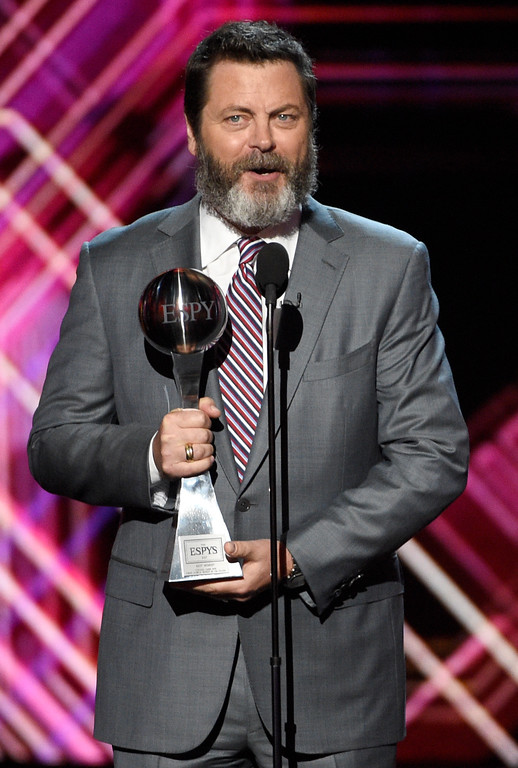 . Nick Offerman presents the award for best moment at the ESPYS at the Microsoft Theater on Wednesday, July 12, 2017, in Los Angeles. (Photo by Chris Pizzello/Invision/AP)