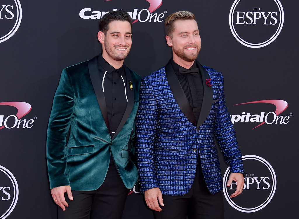 . Lance Bass, right, and Michael Turchin arrive at the ESPYS at the Microsoft Theater on Wednesday, July 12, 2017, in Los Angeles. (Photo by Jordan Strauss/Invision/AP)
