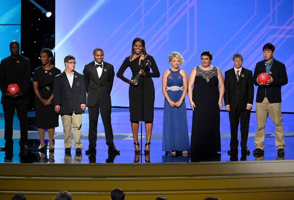 . Former first lady Michelle Obama and athletes present the Arthur Ashe Courage Award at the ESPYS at the Microsoft Theater on Wednesday, July 12, 2017, in Los Angeles. (Photo by Chris Pizzello/Invision/AP)