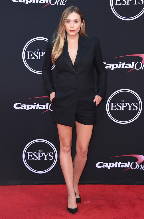 . Elizabeth Olsen arrives at the ESPYS at the Microsoft Theater on Wednesday, July 12, 2017, in Los Angeles. (Photo by Jordan Strauss/Invision/AP)