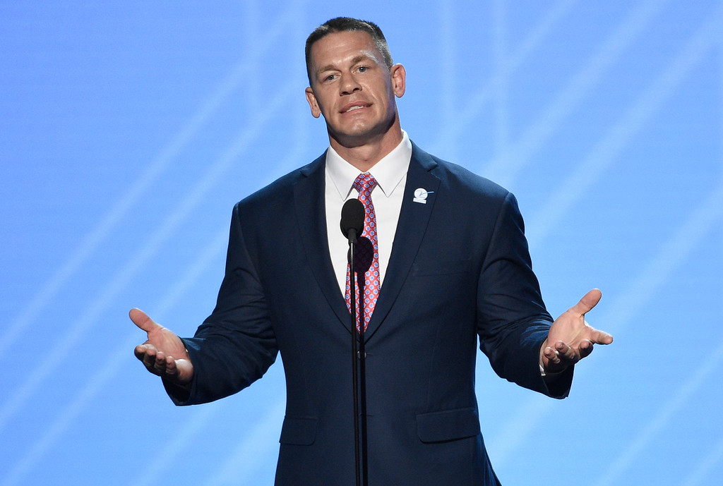 . John Cena presents the Jimmy V perseverance award at the ESPYS at the Microsoft Theater on Wednesday, July 12, 2017, in Los Angeles. (Photo by Chris Pizzello/Invision/AP)