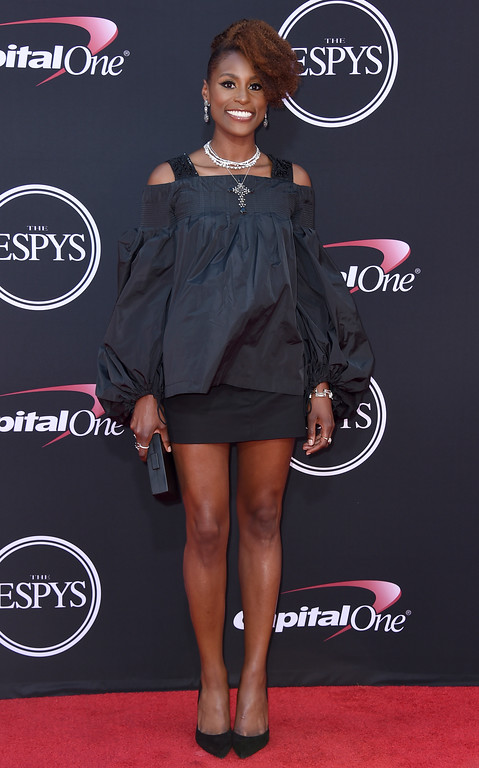 . Issa Rae arrives at the ESPYS at the Microsoft Theater on Wednesday, July 12, 2017, in Los Angeles. (Photo by Jordan Strauss/Invision/AP)