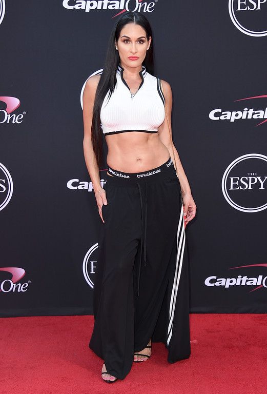 . Nikki Bella arrives at the ESPYS at the Microsoft Theater on Wednesday, July 12, 2017, in Los Angeles. (Photo by Jordan Strauss/Invision/AP)