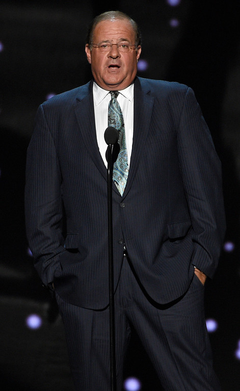. Chris Berman presents and In Memoriam tribute at the ESPYS at the Microsoft Theater on Wednesday, July 12, 2017, in Los Angeles. (Photo by Chris Pizzello/Invision/AP)