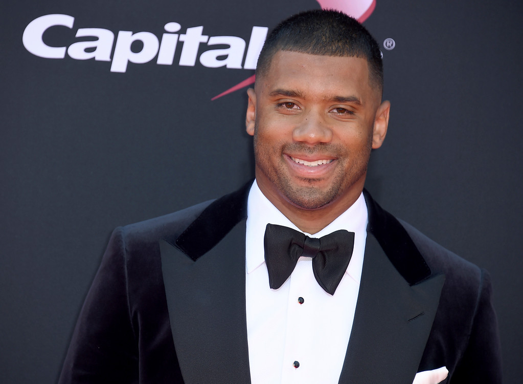 . NFL football player Russell Wilson, of the Seattle Seahawks, arrives at the ESPYS at the Microsoft Theater on Wednesday, July 12, 2017, in Los Angeles. (Photo by Jordan Strauss/Invision/AP)