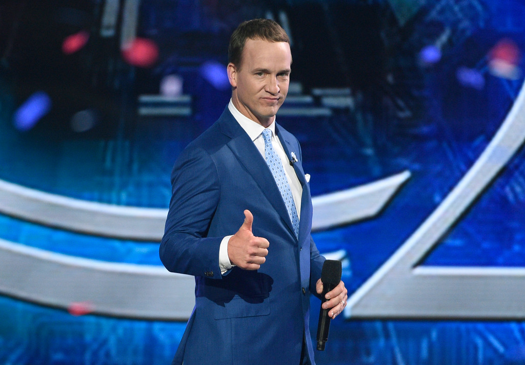 . Host Peyton Manning appears on stage at the conclusion of the ESPYS at the Microsoft Theater on Wednesday, July 12, 2017, in Los Angeles. (Photo by Chris Pizzello/Invision/AP)