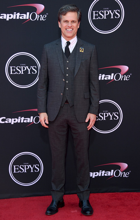 . Timothy Shriver, chairman of the Special Olympics, arrives at the ESPYS at the Microsoft Theater on Wednesday, July 12, 2017, in Los Angeles. (Photo by Jordan Strauss/Invision/AP)