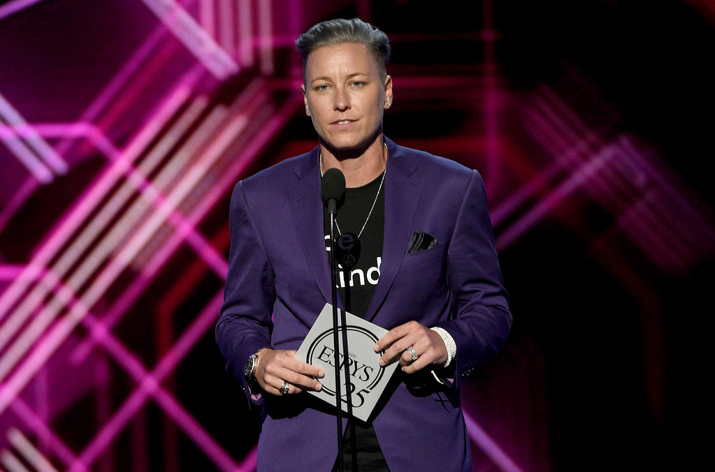 . Abby Wambach presents the award for best female athlete at the ESPYS at the Microsoft Theater on Wednesday, July 12, 2017, in Los Angeles. (Photo by Chris Pizzello/Invision/AP)