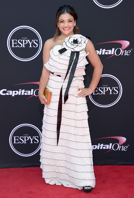 . Gymnast Laurie Hernandez arrives at the ESPYS at the Microsoft Theater on Wednesday, July 12, 2017, in Los Angeles. (Photo by Jordan Strauss/Invision/AP)