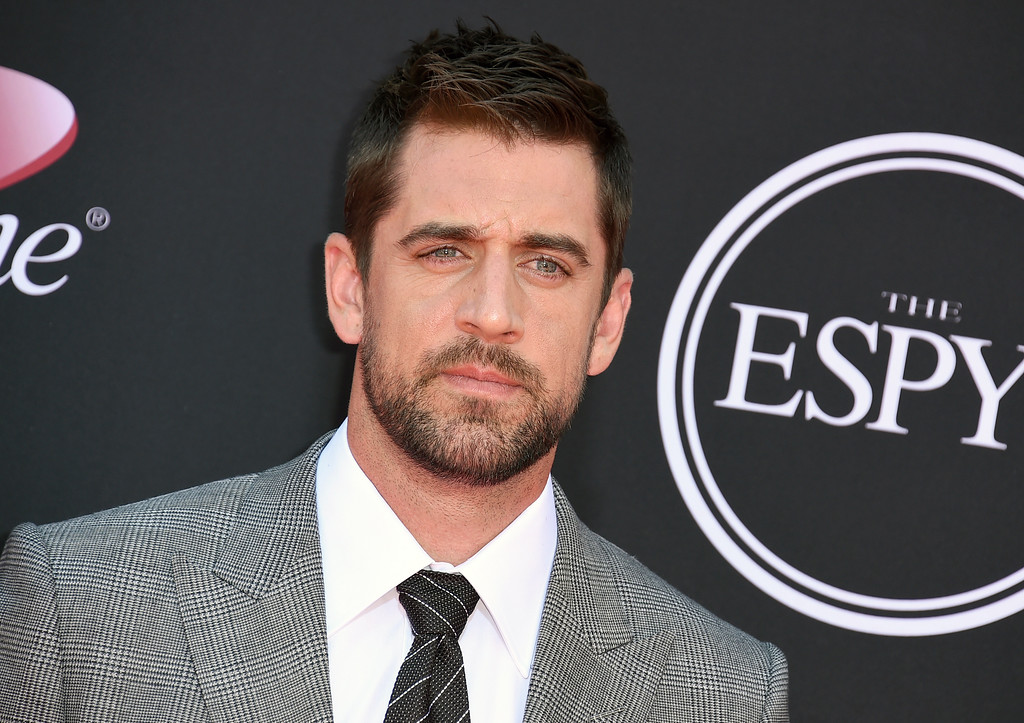 . NFL football player Aaron Rodgers, of the Green Bay Packers, arrives at the ESPYS at the Microsoft Theater on Wednesday, July 12, 2017, in Los Angeles. (Photo by Jordan Strauss/Invision/AP)
