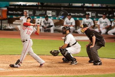 Alberto Gonzalez pops one up high.
