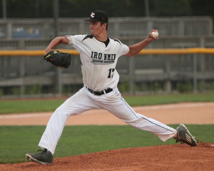 Ironmen pitcher Braun Miller delivers against the Monarchs.   Amanda K. Rundle -- The Morning Journal