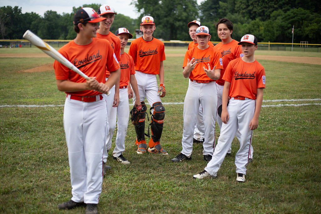 . The Loveland All Stars pose for a portrait before their game against Englewood at Kiwanis Recreation Park in Painesville, Ohio, on July 23, 2018.