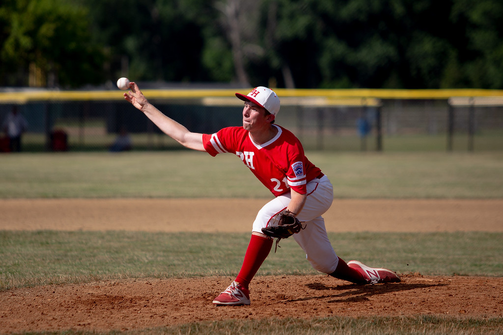 . Rock Hill\'s Tristan Pemberton pitches the ball during an Ohio State Junior Baseball League game between Hiland and Rock Hill at Kiwanis Recreation Park in Painesville, Ohio, on July 23, 2018.