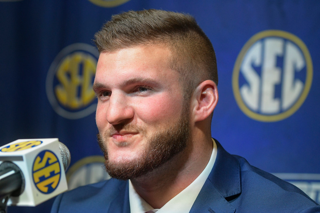 . Kentucky tight end C.J. Conrad is interviewed during NCAA college football Southeastern Conference media days at the College Football Hall of Fame in Atlanta, Monday, July 16, 2018. (AP Photo/John Amis)